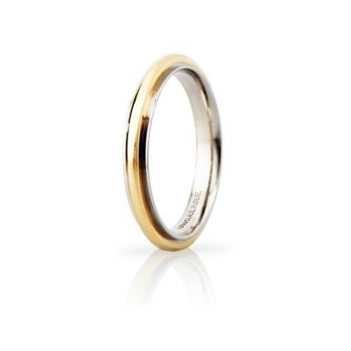 UNOAERRE Andromeda Slim Wedding Ring 3mm White Yellow Gold Brilliant Promises