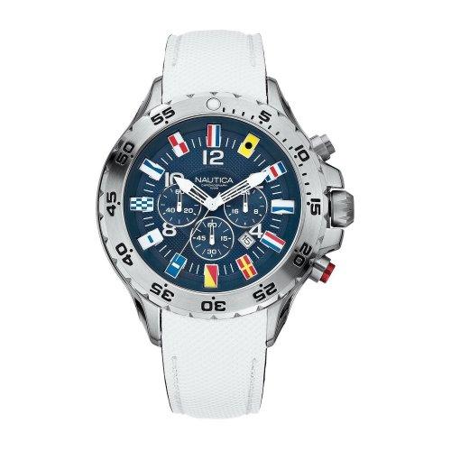 Nautica men's watch A24514G Bandierine White leather strap