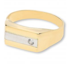 Men's Ring in Yellow and White Gold with White Stone GL100004