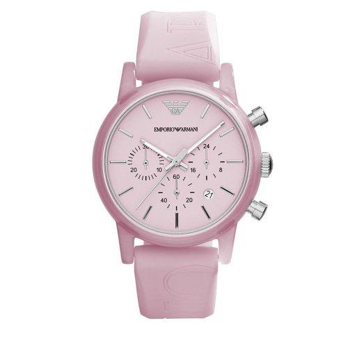 Orologio da polso Emporio Armani da donna AR1056 con cinturino rosa in gomma logato