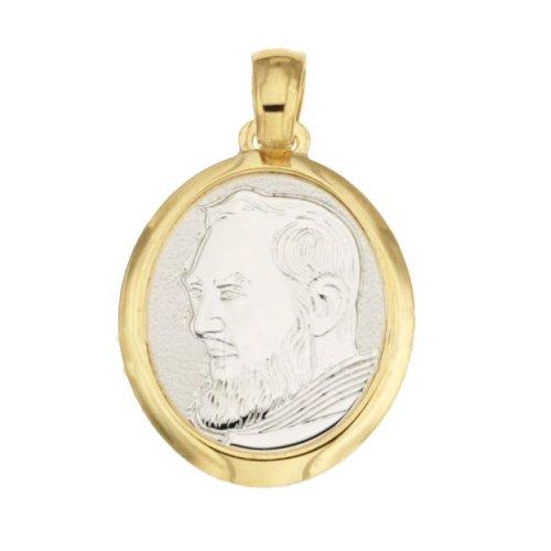 Ciondolo Padre Pio oro giallo e bianco 803321714892
