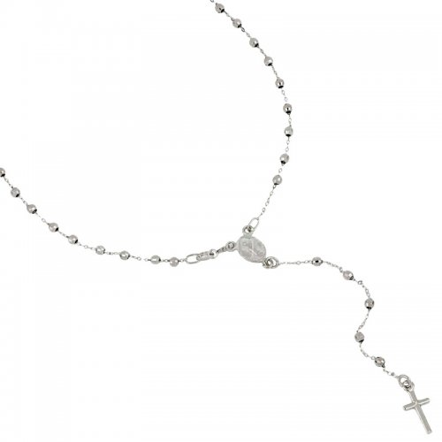 Rosary Necklace White Gold Miraculous Madonna 803321716854
