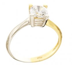 Two-tone solitaire ring for woman in White and Yellow Gold 803321736194