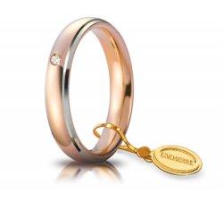 Fede Nuziale Unoaerre Comoda 4 mm Oro rosa bordi bianchi con diamante