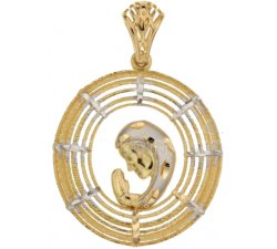 Lady pendant with Madonna in yellow and white gold 803321731694