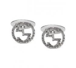 Gucci Men's Silver Cufflinks Interlocking Collection YBE45530500100U
