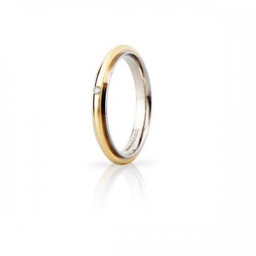 UNOAERRE Andromeda Slim Wedding Ring with Diamond 3mm Yellow White Gold Brilliant Promises