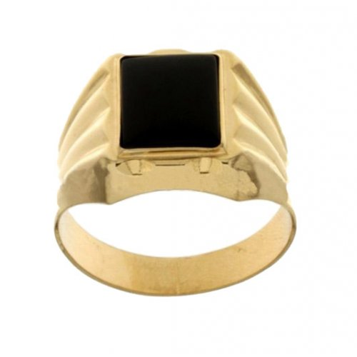Yellow Gold Men's Ring with Black Stone 803321709324