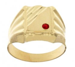 Yellow Gold Men's Ring with Red Stone 803321715403