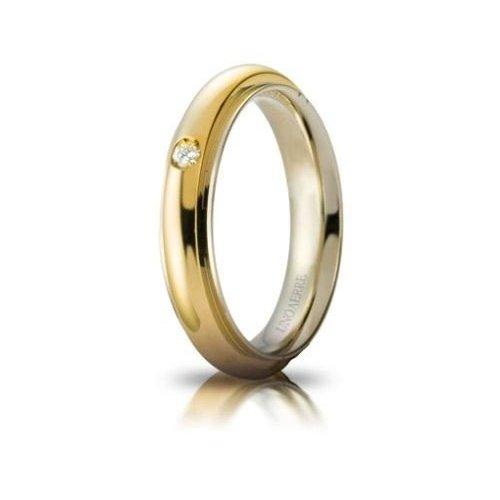 Fede Nuziale UNOAERRE Andromeda con diamante Oro giallo bianco Brillanti Promesse