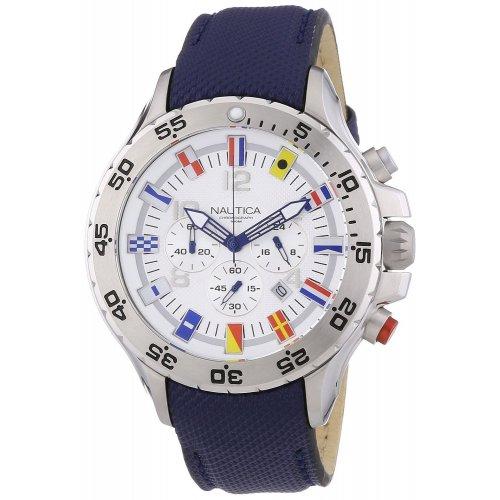 Nautica men's watch A24513G Bandierine Blue leather strap