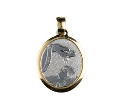 Yellow and White Gold Baptism Medal Pendant GL100018