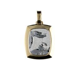 Medaglia Ciondolo da Battesimo Oro Giallo e Bianco GL100019