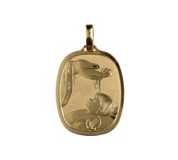 Yellow Gold Baptism Medal Pendant GL100020