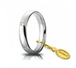 Unoaerre Comfortable Wedding Ring 4 mm White gold with diamond