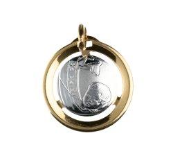 Medaglia Ciondolo da Battesimo Oro Giallo e Bianco GL100026
