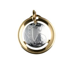 Yellow and White Gold Baptism Medal Pendant GL100026