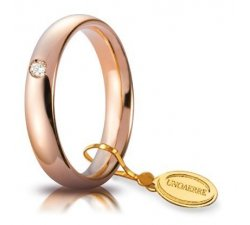 Unoaerre Wedding Ring Comoda 4 mm Rose gold with diamond