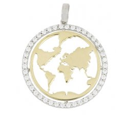 World-shaped pendant yellow and white gold 803321737695