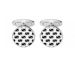 Gucci Men's Silver Cufflinks Interlocking Collection YBE298822002