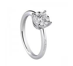 Anello solitario Salvini oro bianco e diamanti collezione Daphne