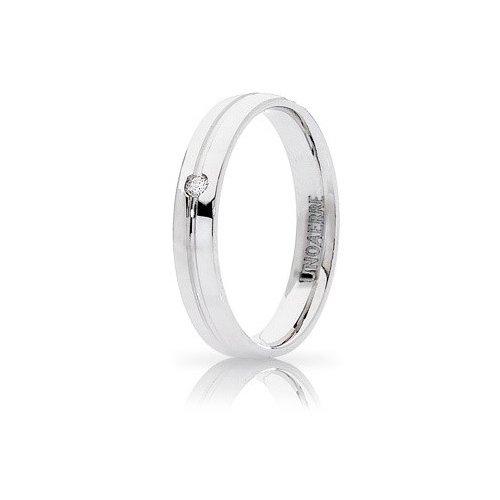 Fede Nuziale Unoaerre Lyra Oro Bianco con diamante Brillanti Promesse