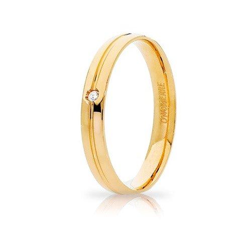 Fede Nuziale Unoaerre Lyra Oro giallo con diamante Brillanti Promesse