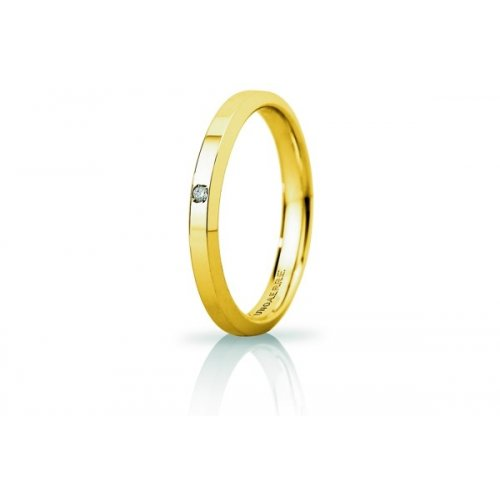 Unoaerre Hydra Slim Wedding Ring with Diamond Yellow Gold Brilliant Promises