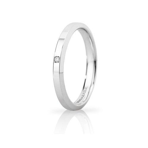 Unoaerre Hydra Slim Wedding Ring with White Gold Diamond Brilliant Promises