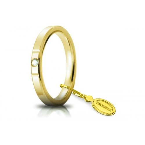 Unoaerre Wedding Ring Circles of Light 2.5 mm Yellow Gold with diamond