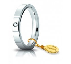 Unoaerre Wedding Ring Circles of Light 3.5 mm White Gold with diamond