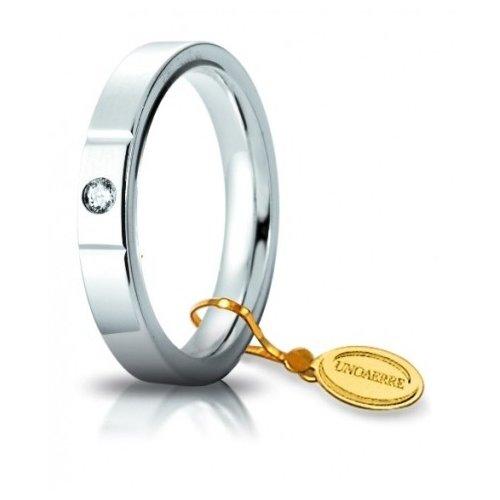 Fede Nuziale Unoaerre Cerchi di Luce 3,5 mm Oro Bianco con diamante