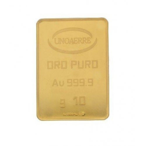 Lingotto Unoaerre da 10 grammi in Oro puro 24 Carati 999,9/00