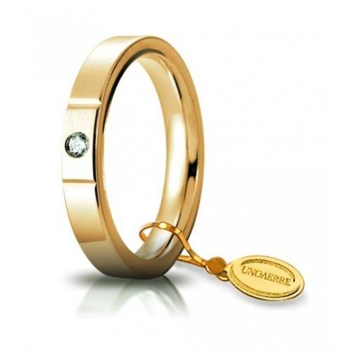 Unoaerre Wedding Ring Circles of Light 3.5 mm Yellow Gold with diamond