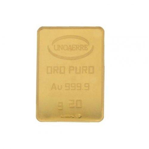 Lingotto Unoaerre da 20 grammi in Oro puro 24 Carati 999,9/00