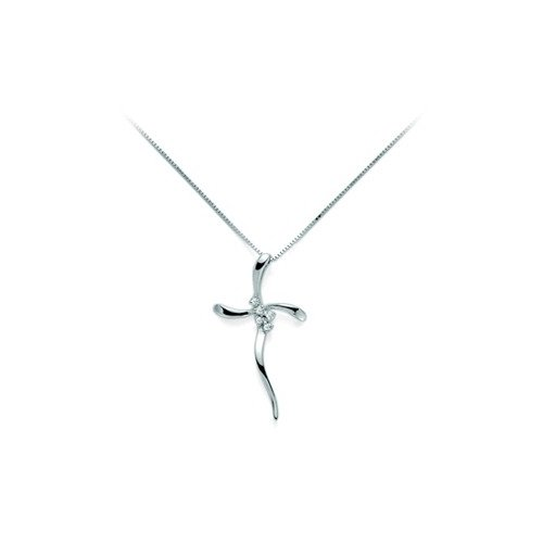 Yukiko cross necklace in gold with diamonds CLD3597Y