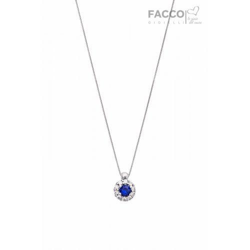 Facco Gioielli Choker Necklace in White Gold and Blue Zircon