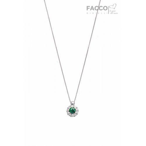 Facco Gioielli Choker Necklace in White Gold and Green Zircon