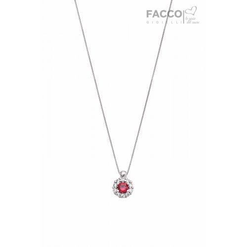 Facco Gioielli Choker Necklace in White Gold and Red Zircon
