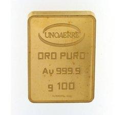 Lingotto Unoaerre da 100 grammi in Oro puro 24 Carati 999,9/00