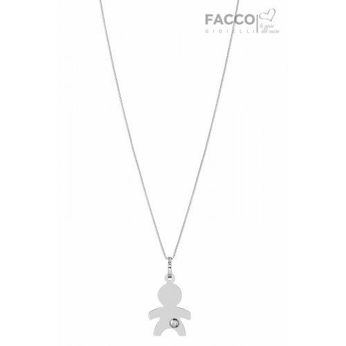 ultime tendenze del 2019 stile di moda del 2019 diversamente Collana Facco Gioielli in Oro bianco Ciondolo Bimbo Bebè 715683 -  GioielleriaLucchese.it