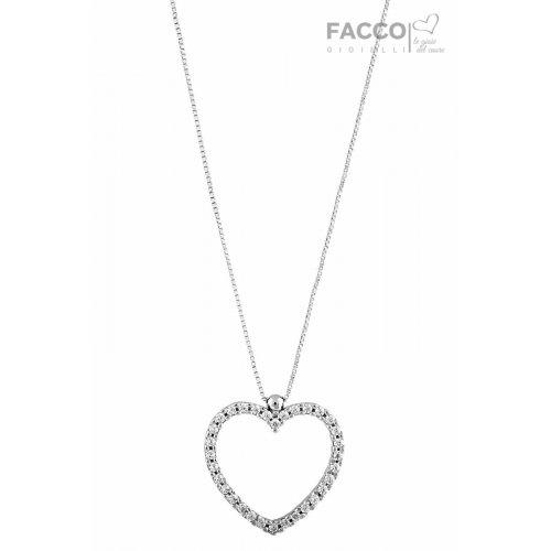 Collana Facco Gioielli in Oro Bianco e Ciondolo cuore con zirconi 727533