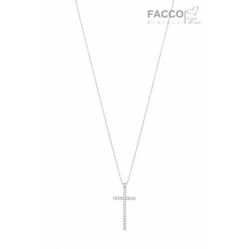 Collana Facco Gioielli in Oro Bianco e Ciondolo croce con zirconi 727536