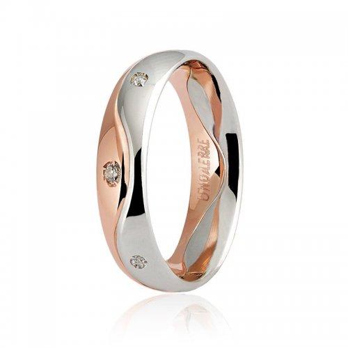 Unoaerre wedding ring model Galassia with 8 diamonds Collection 9.0