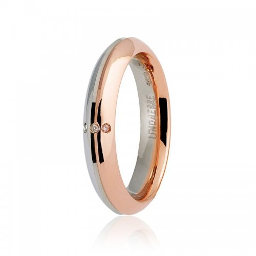 Unoaerre wedding ring Eterna model with 3 diamonds Collection 9.0