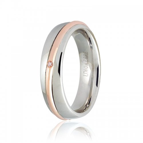 Unoaerre wedding ring, Saturno model Pink and white gold with diamond Collection 9.0