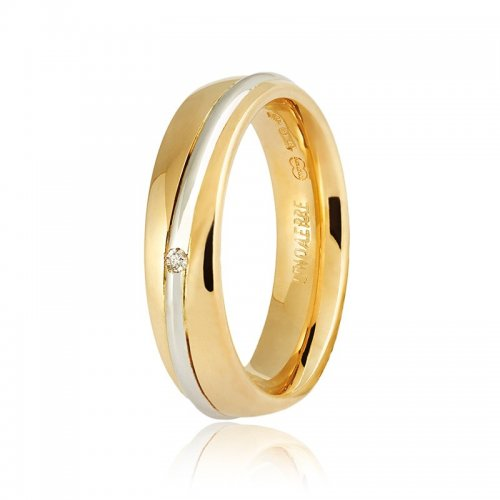 Unoaerre wedding ring, Saturno model Yellow and white gold with diamond Collection 9.0
