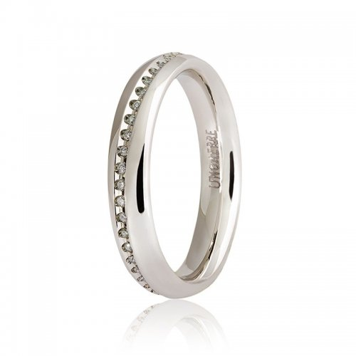 Unoaerre wedding ring model Infinito white gold with diamonds 9.0 Collection