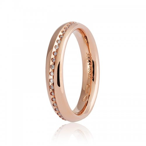 Unoaerre wedding ring Infinito model pink gold with diamonds 9.0 Collection