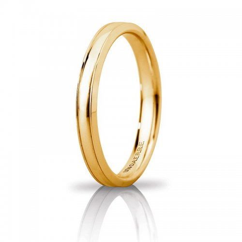 Unoaerre Orion Wedding Ring slim Yellow Gold Brilliant Promises